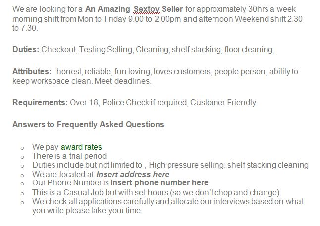 Hiring the right Worker for your sex shop